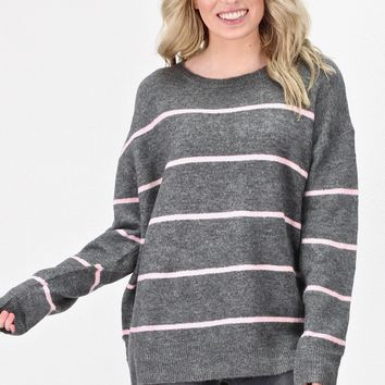 2a29fd4c8 Boxy Stripes Knit Sweater  Grey Blush