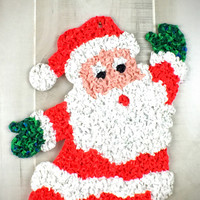 Vintage Christmastime Melted Plastic Popcorn Kitchy Santa Door Hanger Christmas Decoration