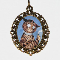 Cigar Cat Necklace Oval Pendant