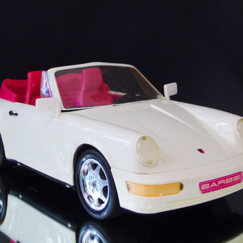 Vintage 1991 Barbie Porsche Carrera 4 White Convertible Car Mattel Cabriolet Barbie Sports Car