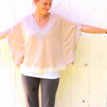 Romantic Shirt , upcycled top , shabby chic tattered , wing sleeved shirt , upcycled shirt , lace and ruffles , ecofashion