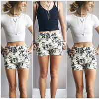 Black Rose High-Waisted Shorts