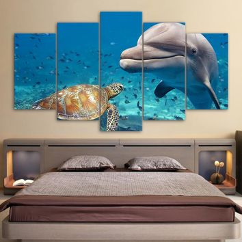 Deep Blue Sea - Sea Turtle, Fish, and Dolphin wall art on canvas