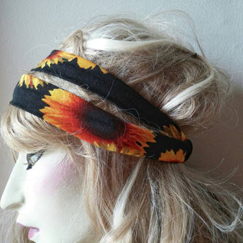 Black Flower Headband - Sunflower headband - Flower headband - Woman headband - Flower adult headband - Teen headband - Yellow headband