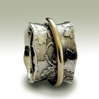 Sterling silver spinner ring with gold filled by artisanlook