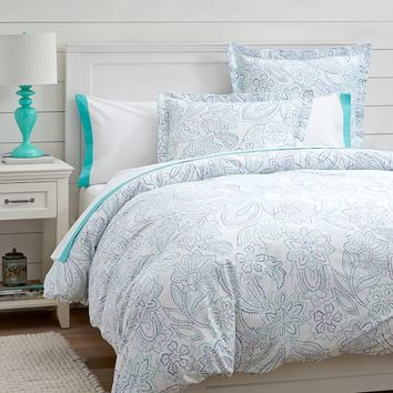 Paisley Dot Duvet Cover + Sham, Cool