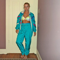 1990s Multicolor Windbreaker Track Suit, 2 Piece Colorful Jumpsuit
