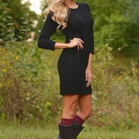 All Of Your Attention Sweater Dress - Black
