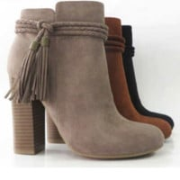 Braided Strapped Bootie W/Fringe