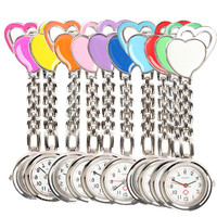 Charming Heart Chest Pocket Watch Nurse Table Quartz Alloy with Clip