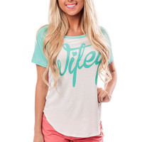 Mint and Cream Baseball Style Wifey Top