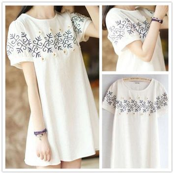 PEAPIX3 Lovely Embroidery Floral White Short Sleeve Cotton Linen Plus Size One Piece Dress [4919721604]