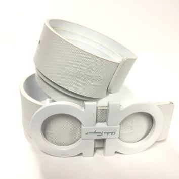 Salvatore Ferragamo Belt 34 White White Leather Popular Fashion Designer SIG