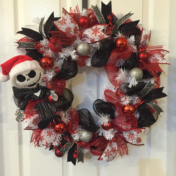 Jack Skellington Wreath,Nightmare Before Christmas, Jack Skellington,Christmas Wreath,Front Door Christmas,Holiday Wreath,Christmas Mesh