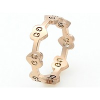 GUCCI creative fashion titanium steel ring girl heart-shaped G pattern single ring F0588-1 Rose gold