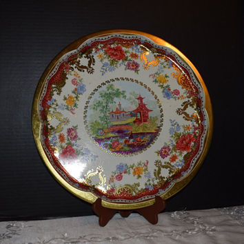 Daher Decorated Ware Large Round Metal Tray Vintage 1970s Made in England Asian and Floral Serving Tray Gold Trim Pagodas Asian Decor