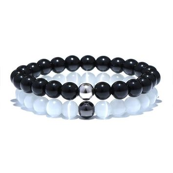 2 Pcs/Set Black White Natural Stone Couple Distance Bracelet Yoga Meditation Braclet For Men Women Friendship Jewelry Gift