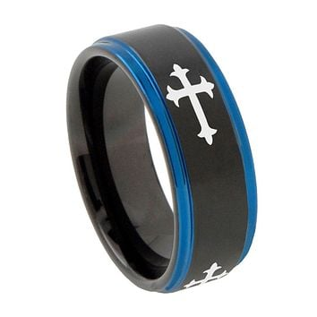8mm Christian Cross Religious Blue Step Edges Tungsten Carbide Mens Wedding Ring