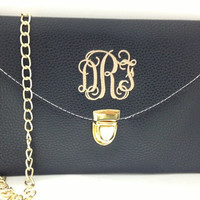 Monogrammed Women's Clutch Purse - BLACK