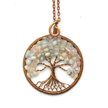 Tree-Of-Life Necklace Pendant Tree Of Life Jewelry Family Tree Copper Pendant Wire Tree Of Life Wire Wrapped Pendant Morganite Pendant