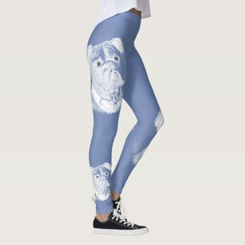 Bulldog Face White on Blue Leggings