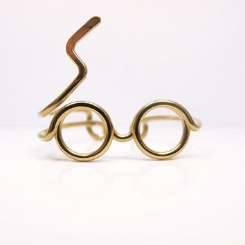 Gold Harry Potter Ring - Glasses Ring, Lighting Scar - Gold Filled Wire Wrap Delicate Ring, Adjustable - Cool, Funny, Geeky Gift for Friend