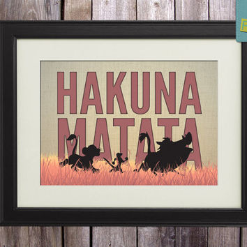 "Disney Lion King inspired Baby Children Boy or Girl Birth Gift idea Nursery room wall art ""Hakuna Matata"" Print 8x10 Letter / Tabloid"
