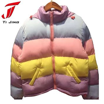 cute kawaii lolita sweet vintage 90s lazy oaf macaron rainbow colors warm coat women winter jackets short coats 2017 new L273