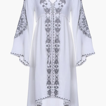 White Embroidered Bell Sleeve Midi Dress