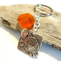 Cute Turtle Keychain With Tangerine Orange Sea Glass
