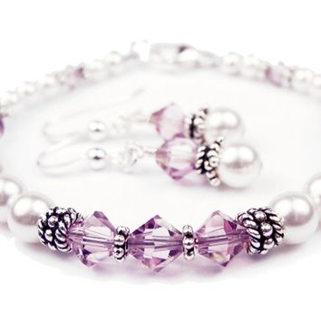 Freshwater Pearl Jewerly Sets: Real Pearl Bracelets Simulated Purple Alexandrite in Swarovski Crystal Birthstone Colors