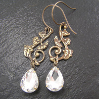 Vintage Style Earrings, Diamond Glass Pear Drops, Wedding Earrings