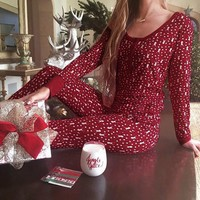 Christmas Women Long Sleeve Pajamas Set Deer Sleepwear Nightwear Tops+Pants