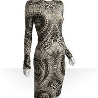 Alexander McQueen grey skull printed wool-silk sweater dress