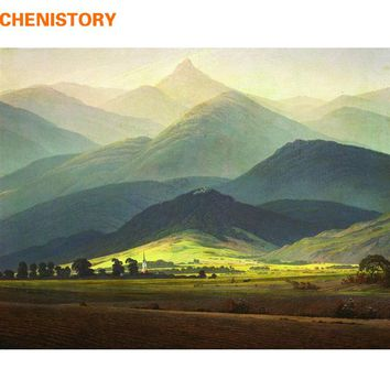 CHENISTORY Famous Picture Mountain DIY Painting By Numbers Landscape Calligraphy Painting Modern Wall Art For Home Decor 40x50cm