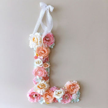 "Flower Letters, Floral Letters, Vintage wedding decor / Personalized nursery wall decor, Baby shower, 45 cm/17.8"" wall art, Photography Prop"