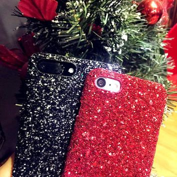 Sparkle Bling Glitter Crystal Jewelled Diamond Hard PC Shockproof Phone Back Case Cover For iPhone 5 5S SE 6 6S Plus 7 Plus