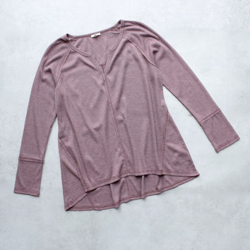 SH thermal long sleeve v neck top, dusty pink
