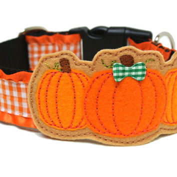 Fall Pumpkin Felt Dog Collar Add-on For Dog Collar