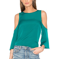 1. STATE Cold Shoulder Flounce Top in Green Clover | REVOLVE