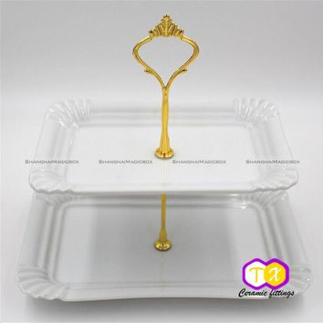 1Set 2 Tier Fruit Plate Holder Cake Plate Stand Handle Wedding Party Fruit Plate Stand Rack Cake Desserts Tool 48817112 SMB
