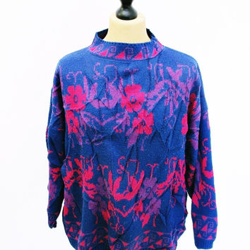 Vintage 1980s Crazy Pattern Psychedelic UNISEX Sweater Jumper 2XL