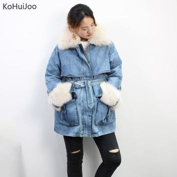 KoHuiJoo Women Long Denim Jacket Winter Warm Natural Fox Fur Collar Down Jacket Female Belted Thick Warm Outwear Blue