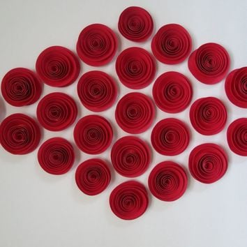 Set of 24 Bright Red Roses, Small Paper Roses for Embellishing and Adding Bling Flower Meaning Love Wedding Decoration Valentine's Day 1.5""