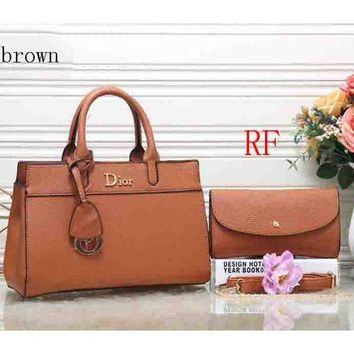 ac NOVQ2A Dior 2018 latest women's fashion elegant leather handbag (Two sets) F-RF-PJ Brown