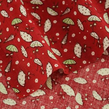 Booksew Lovely White Umbrella Designs Dark Red Cotton Fabric Pre-cut Fat Quarter Tecido Home Textile Tissu Telas Art Work Dress