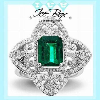 Cultured Emerald Engagement Ring 8 x 6mm 1.9ct Cultured Emerald in a 14k White Gold Diamond Fleur de lis Halo Setting