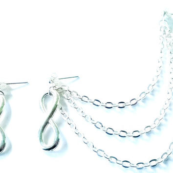 Sale......Silver or gold 3 tier infinity cartilage earrings (pair)