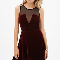 Velveteen Mesh-Paneled Dress
