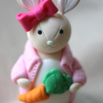 Whimsical 3D Light Toned Girl Rabbit Cake Topper Fondant Figure - Perfectly Matches Our Cupcake Toppers